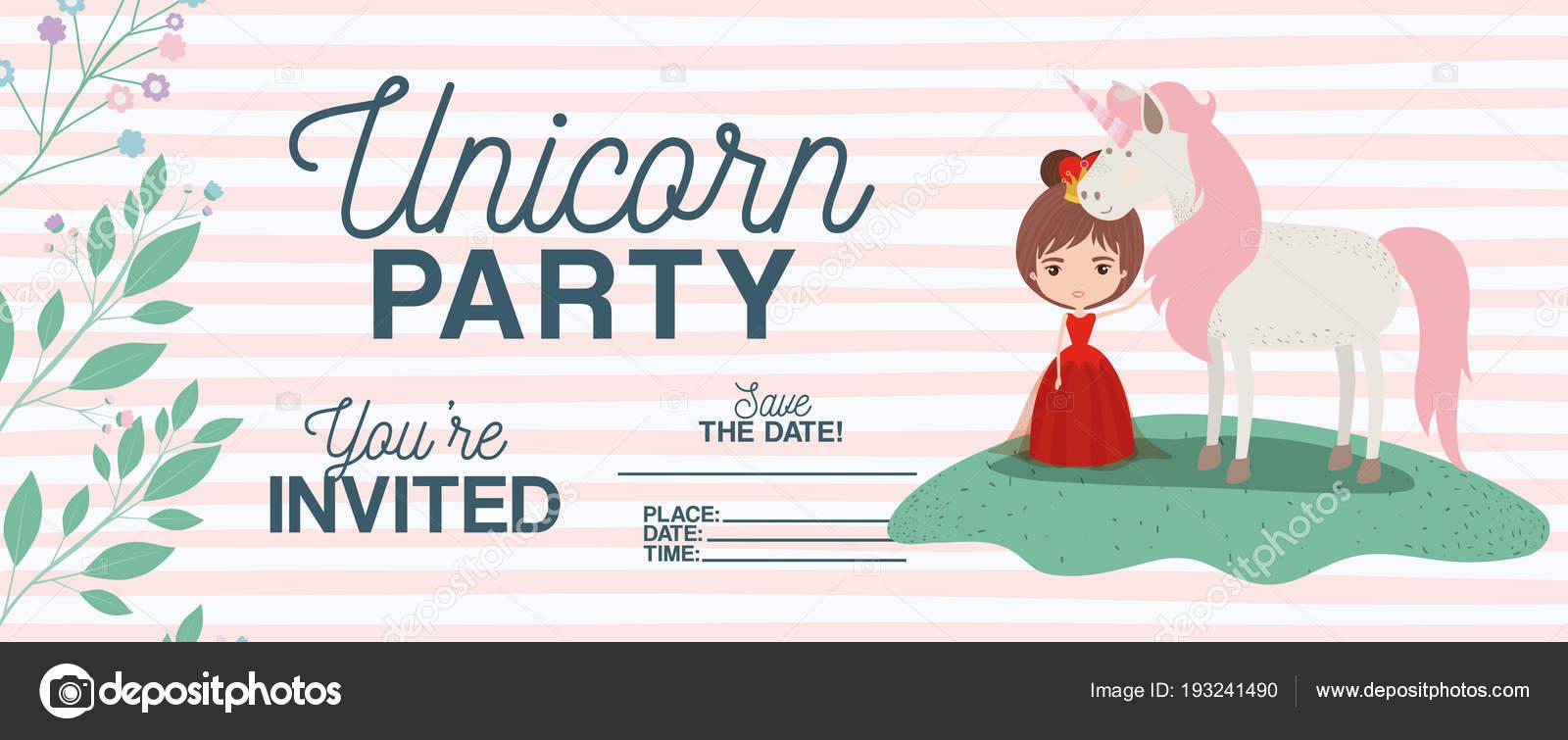 Princess with unicorn invitation card stock vector grgroupstock princess with unicorn invitation card vector illustration design vector by grgroupstock stopboris Image collections
