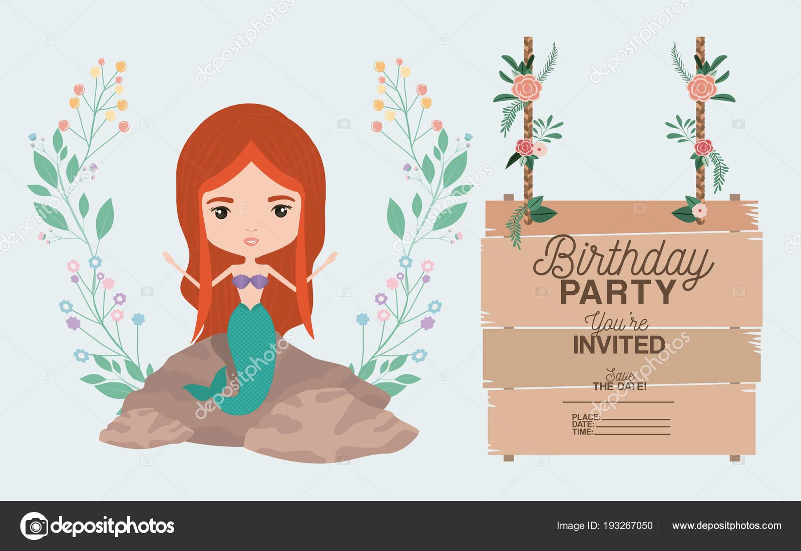 Sirena Con Tarjeta De Invitación De Madera Marca Vector De