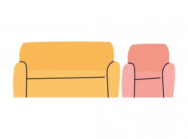 Isolated couch and chair vector design