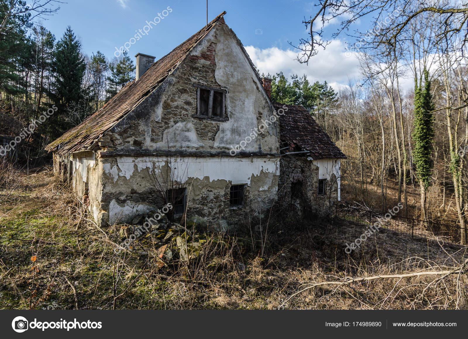 Antica casa colonica nella foresta foto stock for Disegni casa colonica