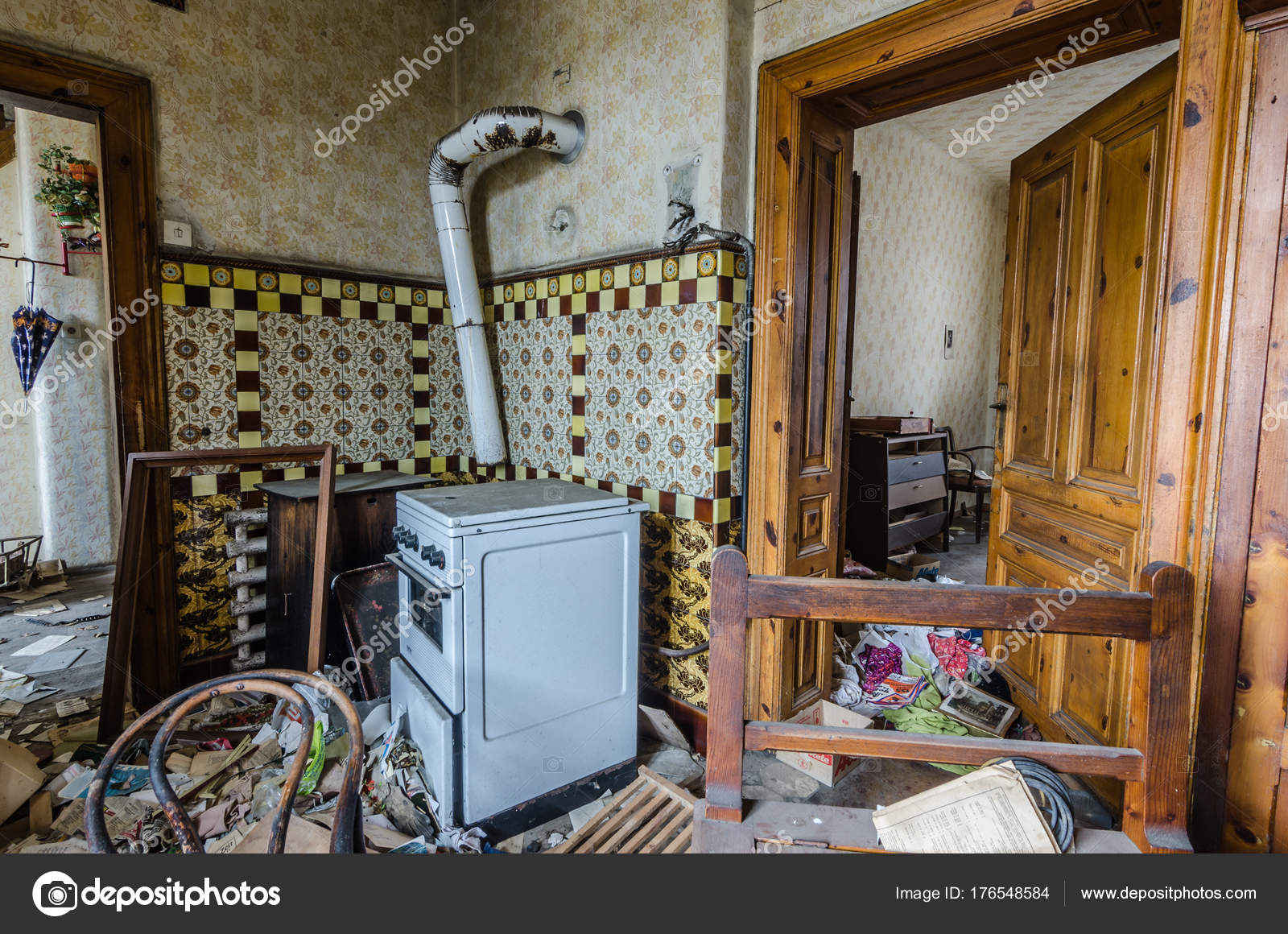 Kitchen In Abandoned House Stock Photo