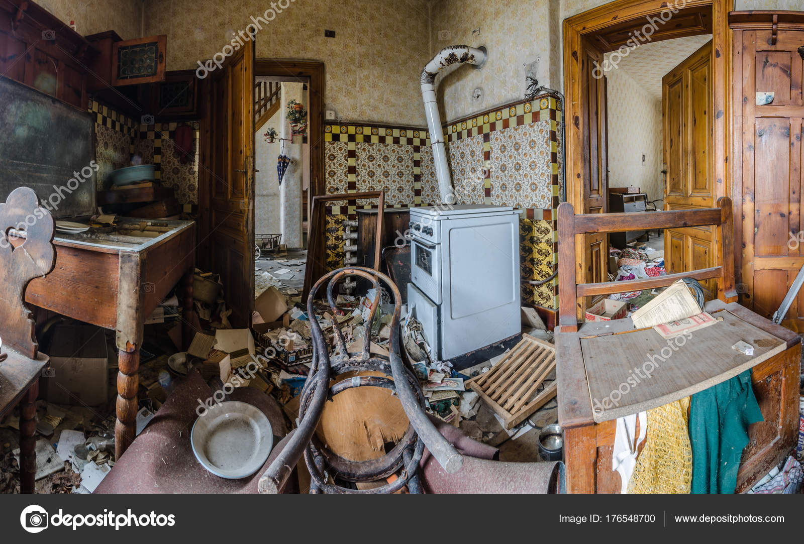 Kitchen In Abandoned House Panorama Stock Photo