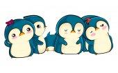 Vektor-Illustration mit niedlichen lustigen Pinguin-Babys, die schlafen und sich umarmen, um warm zu werden. Vogelfamilie zusammen