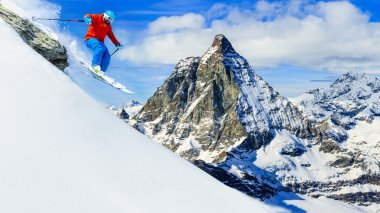 Man skiing with Matterhorn in background