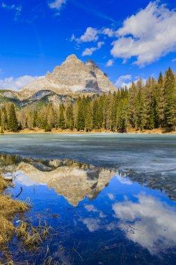 Spring view at Lago Antorno, Dolomites, Lake mountain landcape w
