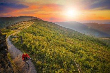 Mountain biking cycling at sunset in summer mountains forest lan