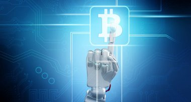 Robot hand point on cryptocurrency digital icon.3d rendering