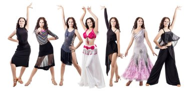 Set of young dancer woman in beautiful ballroom dresses.