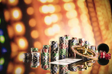 Casino concept with bokeh background.