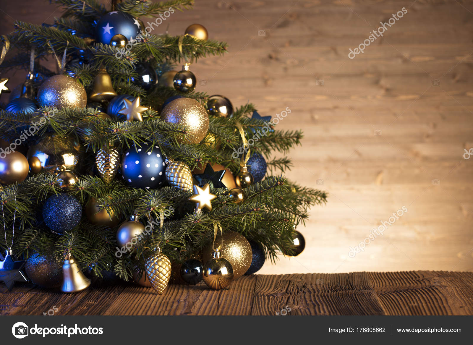 Christmas Decorations Blue Gold Aesthetics Rustic Wooden Table Place Text Stock Photo Image By C Zolnierek 176808662