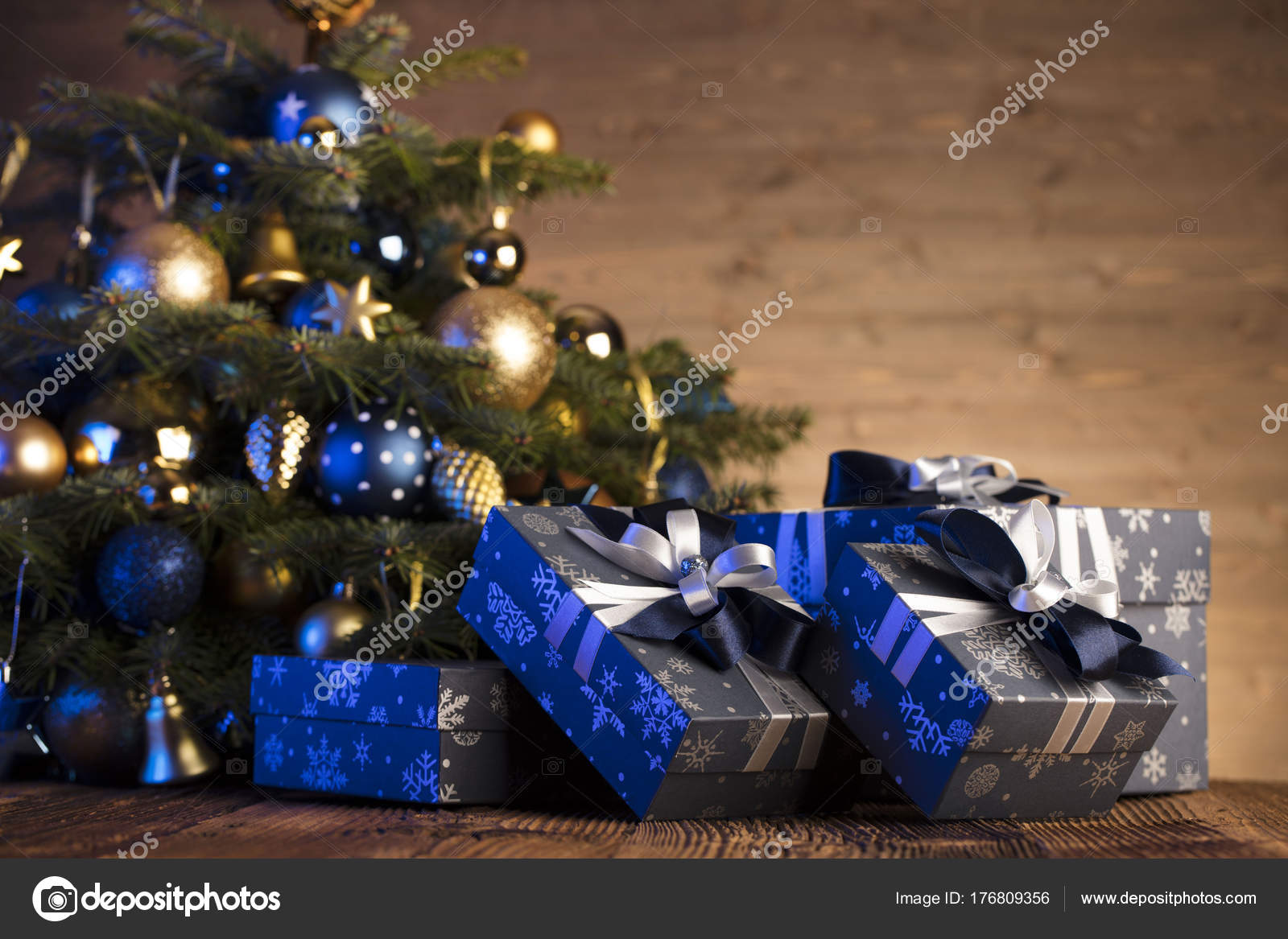 christmas decorations blue gold aesthetics rustic wooden table place text stock photo - Blue And Gold Christmas Decorations