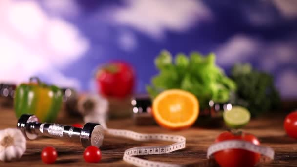 Healthy food, fitness concept. Dolly shot.