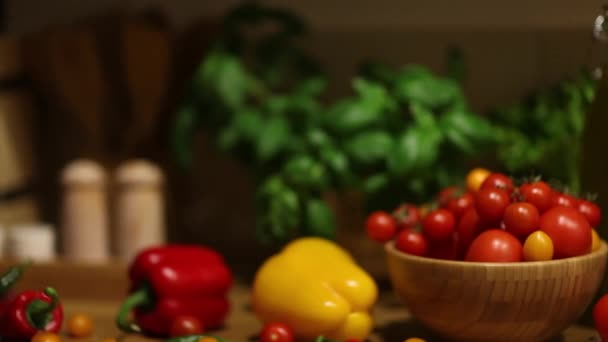Organic vegetables, healthy food concept. Dolly shot.