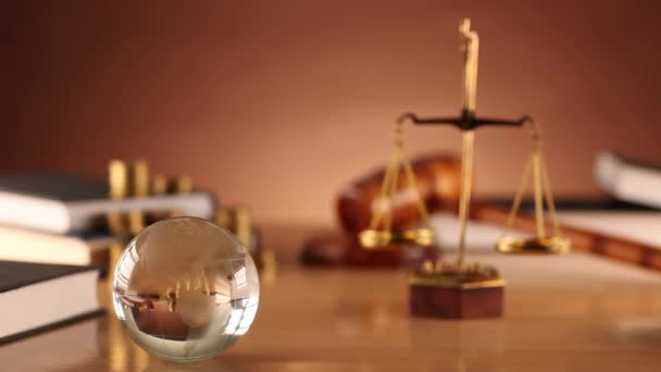 Law and justice theme. Law symbols - dolly shot.