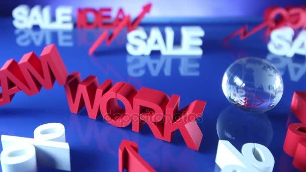 Verkauf-Promotion-Clip. Business-Konzept. Blauer Hintergrund. Dolly erschossen.