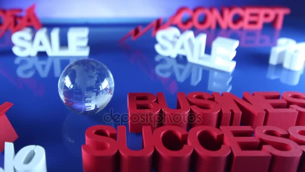 Sale promotion clip. Business concept. Blue background. Dolly shot.