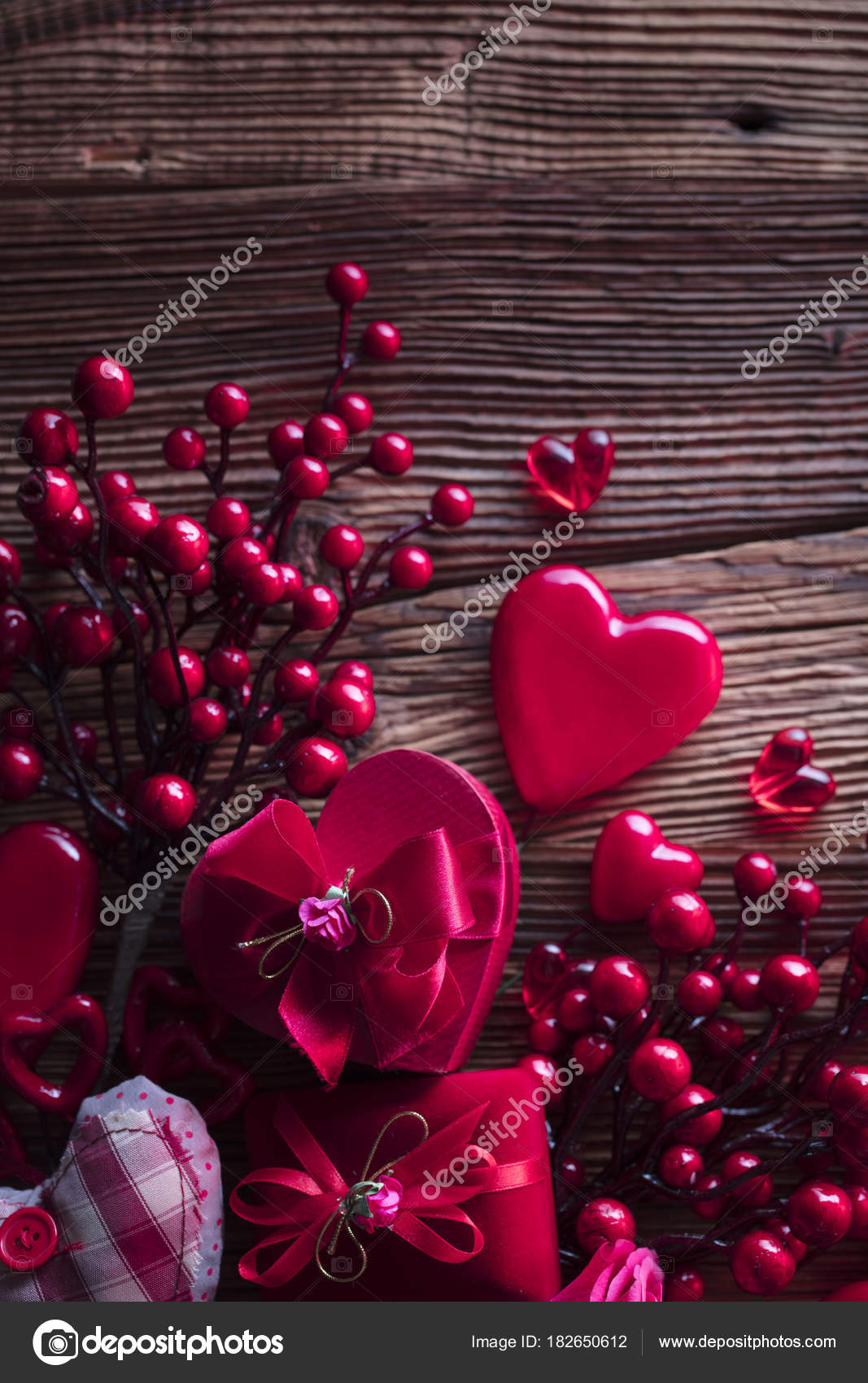 Valentines Day Background Hearts Roses Gifts Romantic Decorations