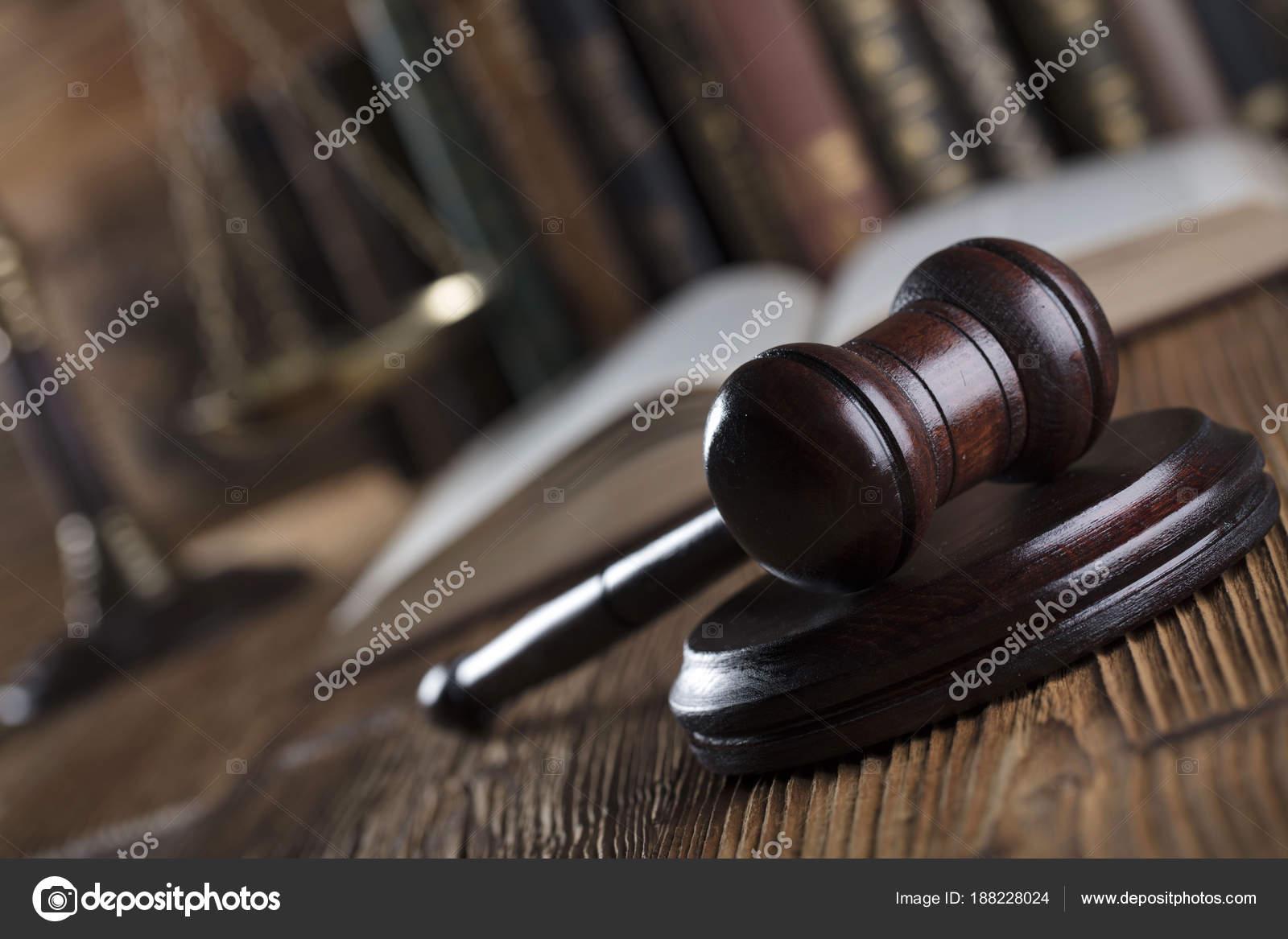 Law Theme Judge Antique Gavel Bookshelf Background Stock Photo