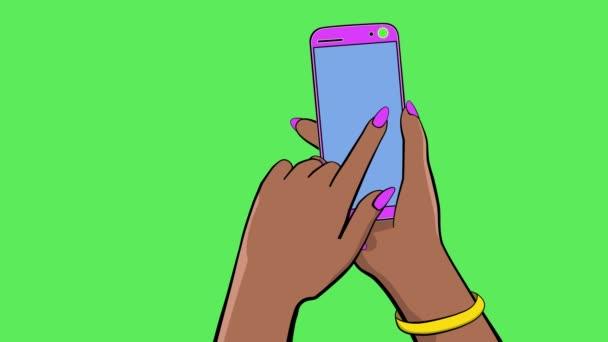 Držím dotykové zařízení. Animace kreslených filmů. Ruka drží smartphone. Druhá ruka otočí barevné obrazovky jedním prstem na stranu. Je tam zvon a vibrace. Čisté zelené pozadí k nahrazení. 4k