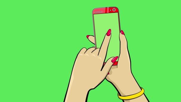 Držím dotykové zařízení. Animace kreslených filmů. Ruka drží smartphone. Druhá ruka prstem odhodí zástěny na stranu. Je tam zvon a vibrace. Čisté zelené pozadí k nahrazení. 4k