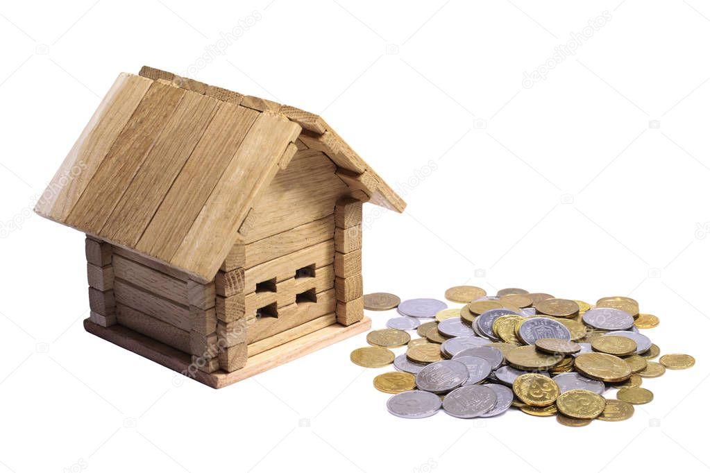 holzhaus block mit m nzen finanzen grundst ck und haus kredit konzept projekt gem tliches. Black Bedroom Furniture Sets. Home Design Ideas