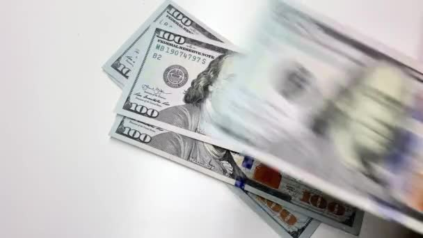 Counting dollars 100 banknotes. Real time full hd video footage.