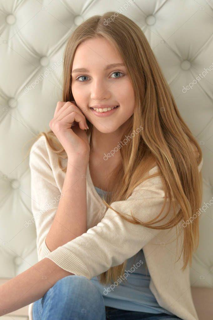 Portrait of cute teen girl — Stock Photo © aletia #164802918