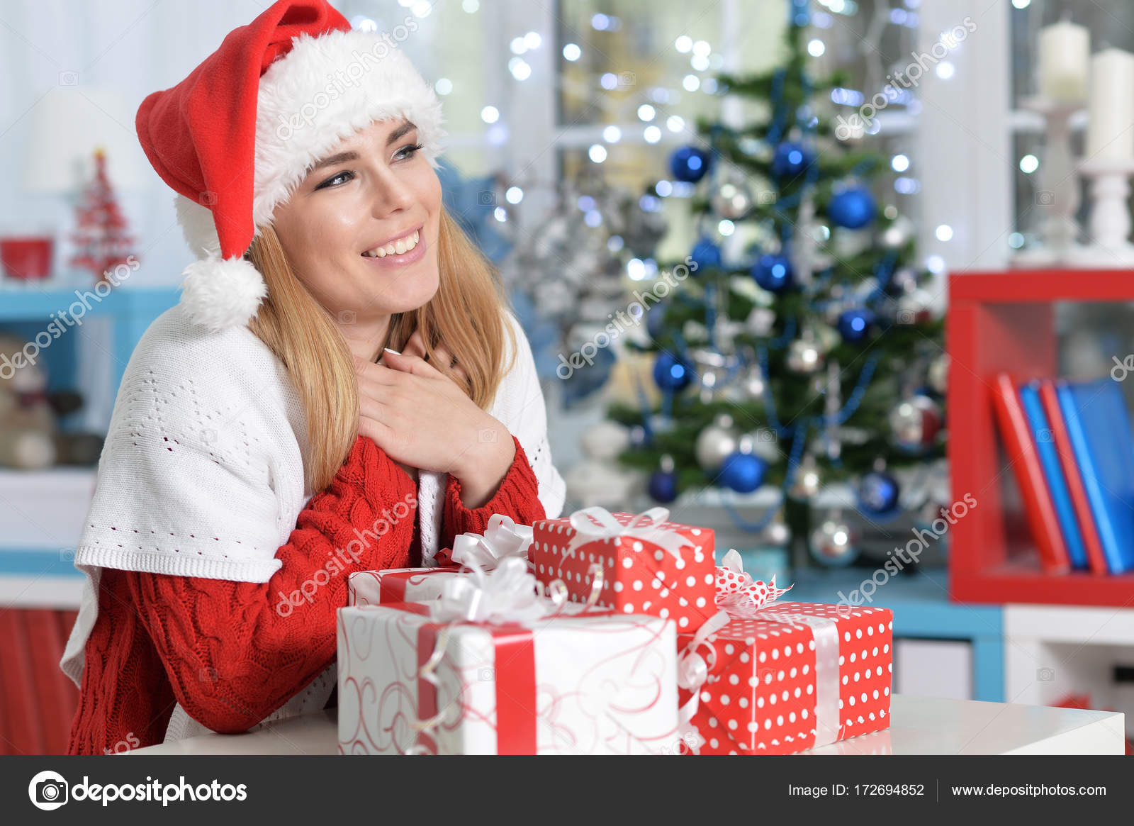 Woman with Christmas gifts — Stock Photo © aletia #172694852