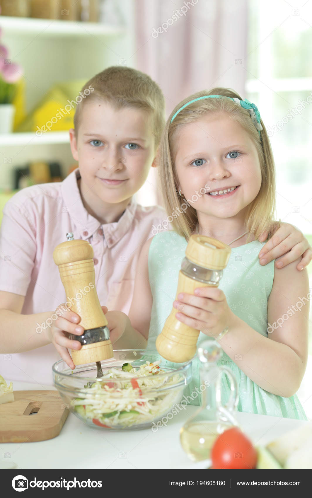 Cute Little Brother Sister Cooking Together Kitchen Stock Photo