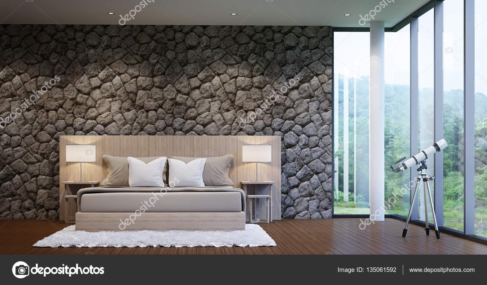 Camera da letto moderno lusso decorare pareti con pietra ...