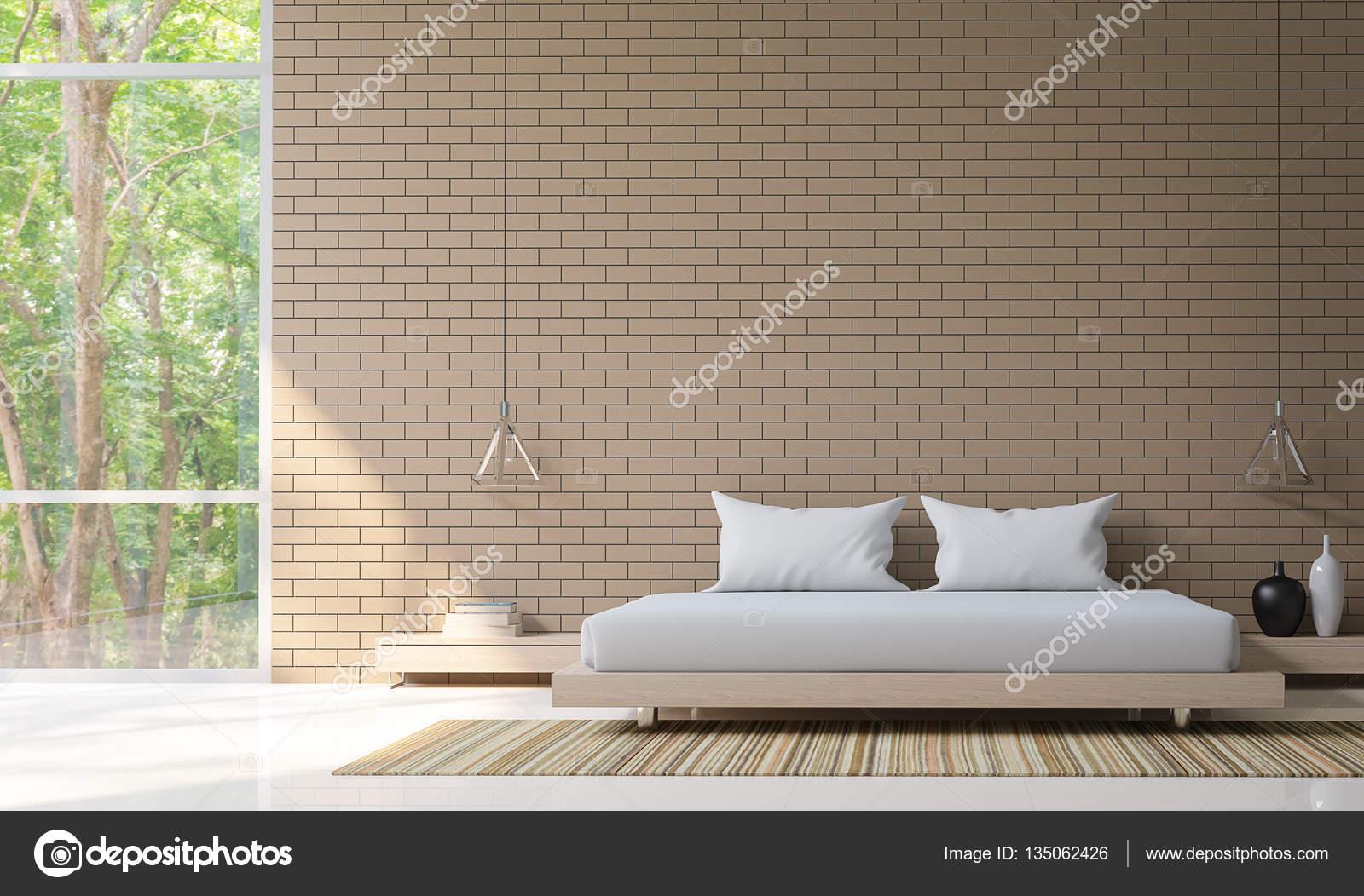 Schlafzimmer Dekoration Wand | Moderne Schlafzimmer Dekorieren Wand Mit Backstein 3d Rendering Bild