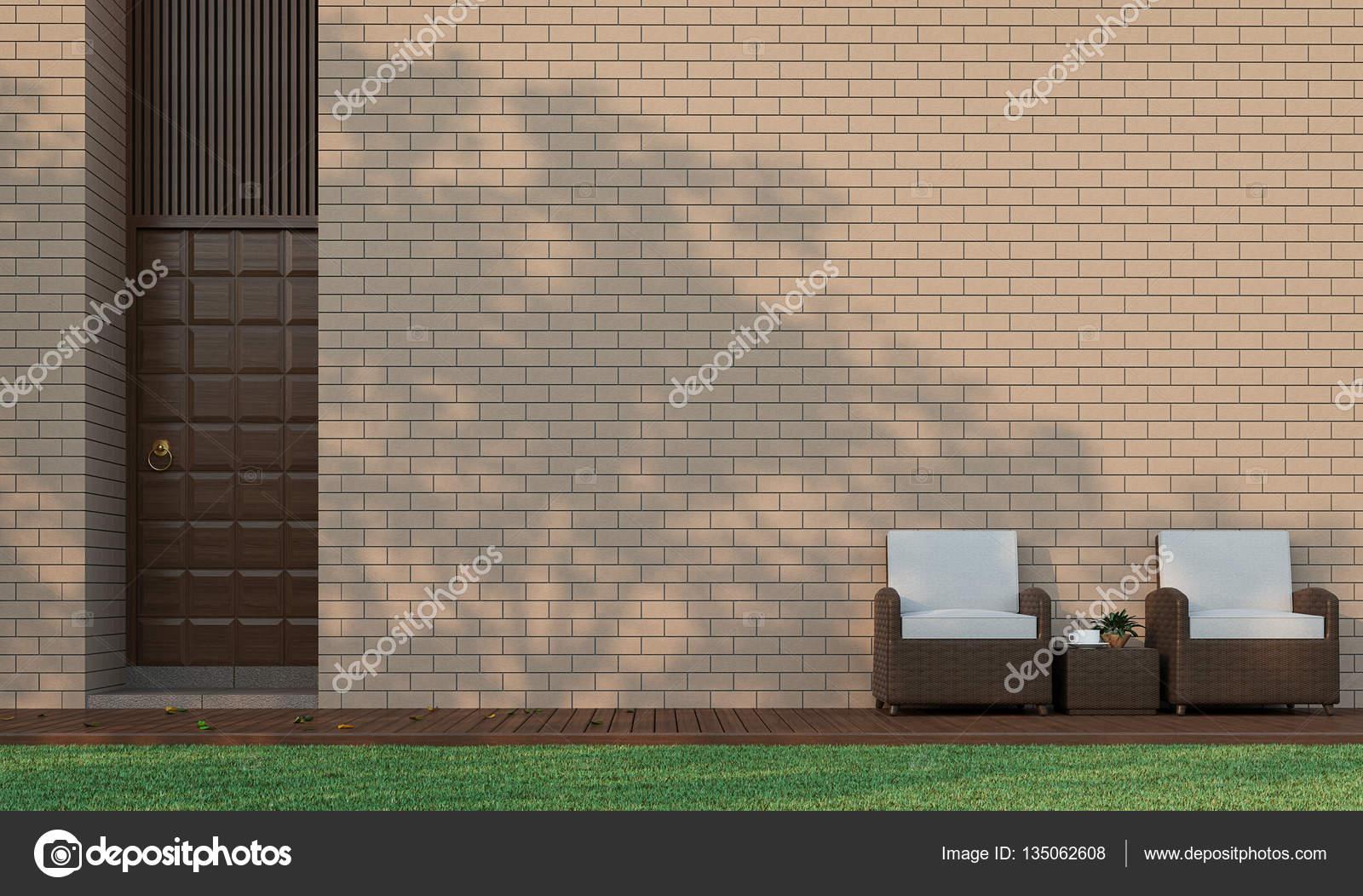 Costruzione moderna terrazza in giardino decorare la parete con mattoni immagine di Rendering 3d ...
