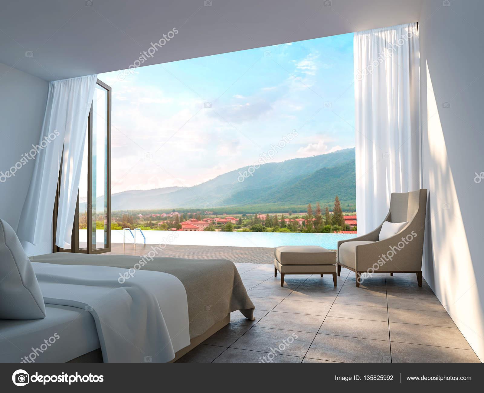 Moderne Schlafzimmer Mit Blick Auf Die Berge 3D Rendering Bild. Es Gibt  Grenzenlose Schwimmbad Gibt Es Große Offene Tür Mit Blick Auf Die  Umliegende Natur ...