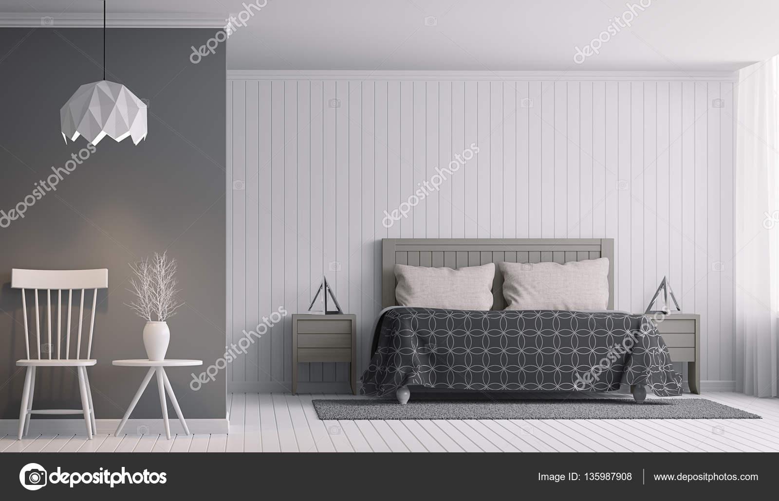 Intérieur De Chambre à Coucher Moderne Noir Et Blanc Rendu 3d Imageu2013 Images  De Stock Libres De Droits