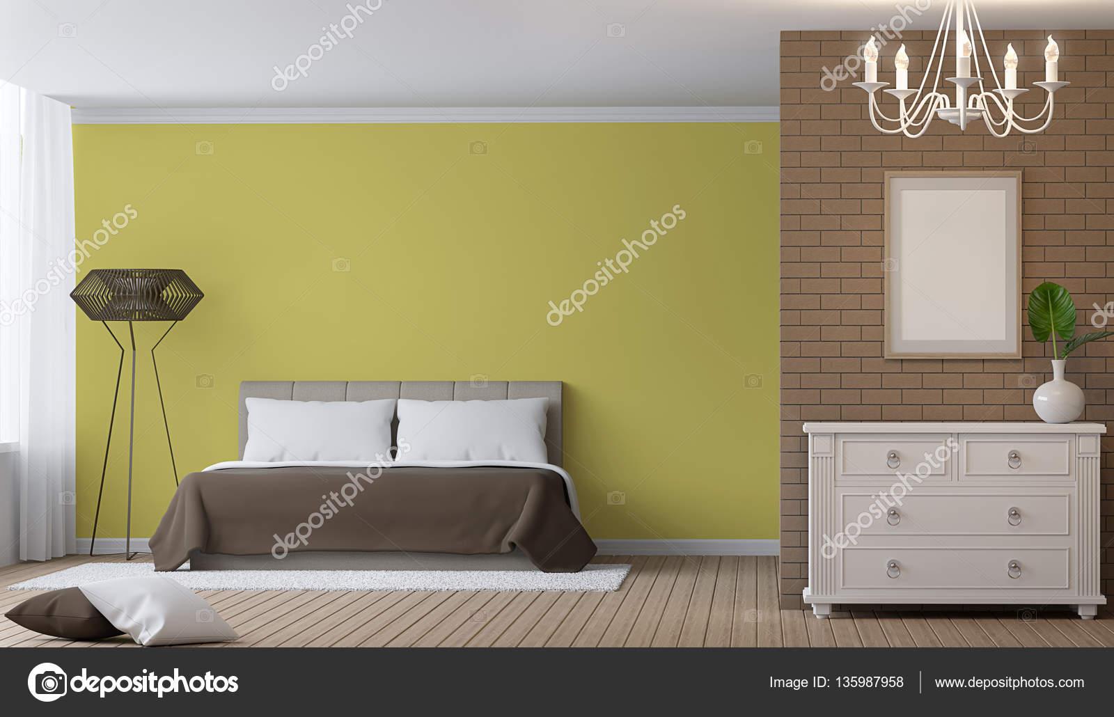 Modern Bedroom interior 3d rendering image. — Stock Photo © onzon ...