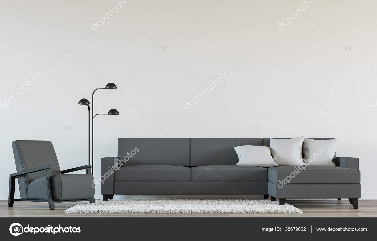 Moderna sala interior con render 3d imagen blanco y negro — Foto de ...