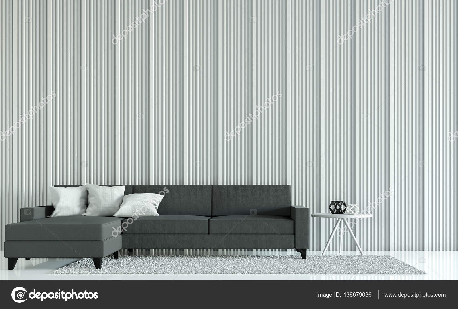 Moderne witte woonkamer decoreren van muren met houten rooster 3d ...