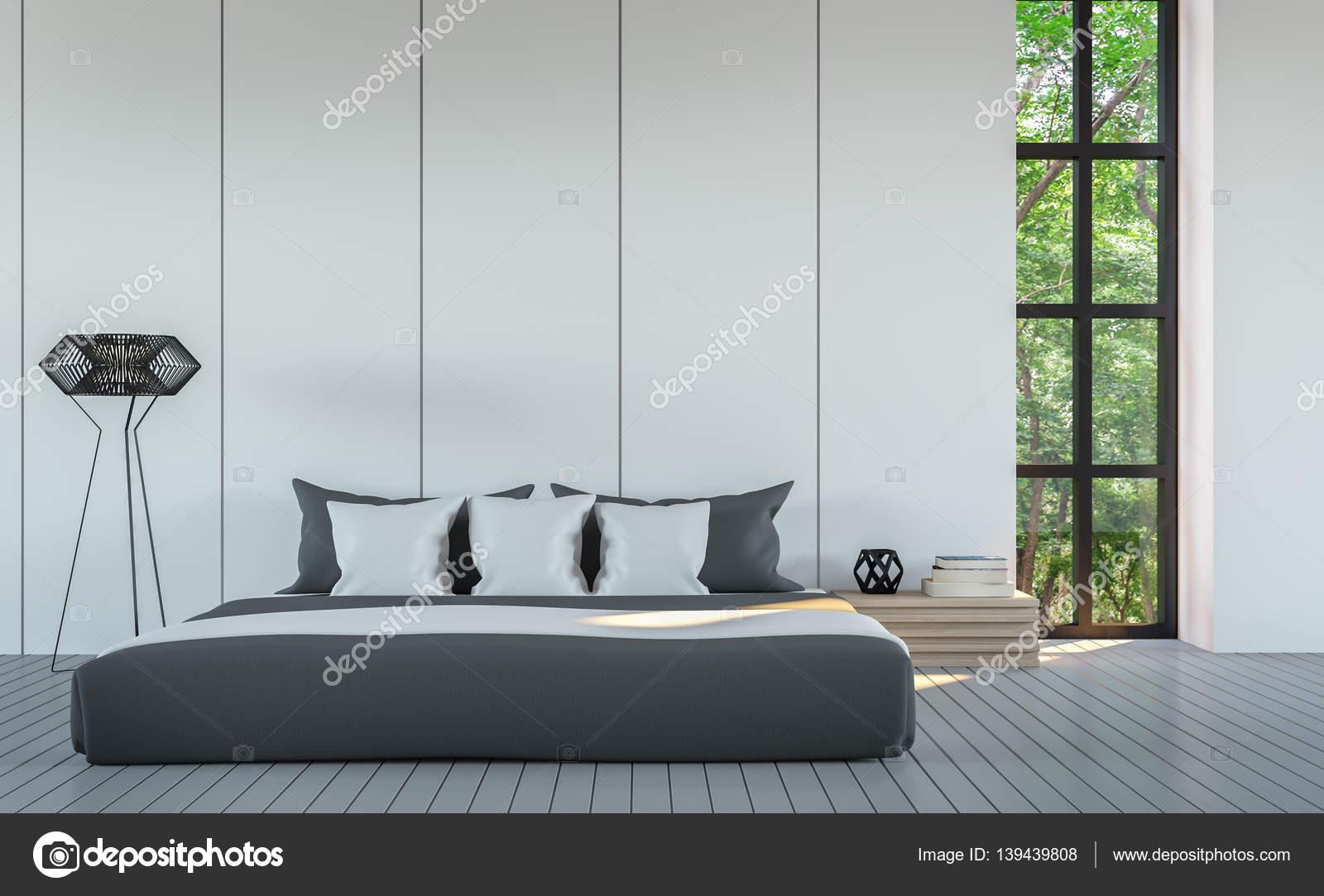 Bianco moderno camera da letto stile minimal rendering 3d - Camera da letto minimal ...