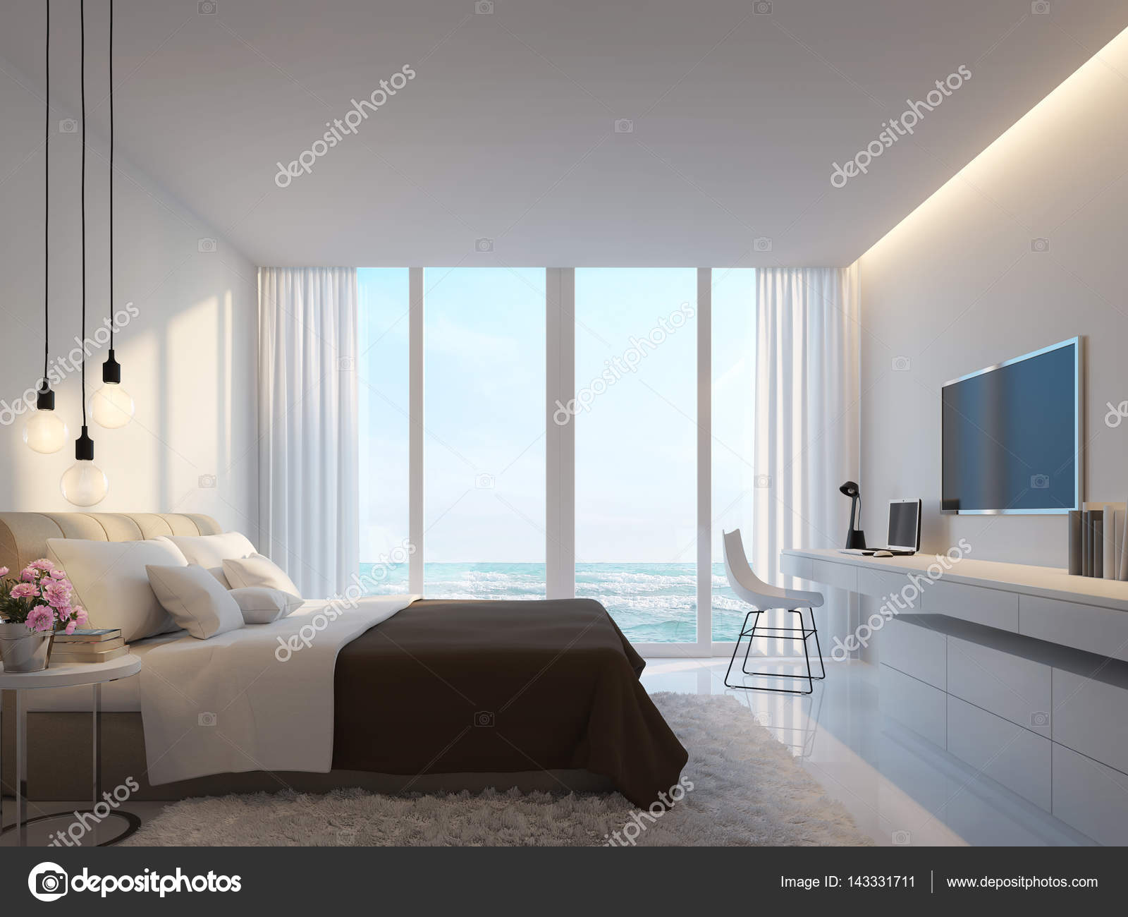 Moderna camera da letto bianca con mare Vedi immagine di rendering ...