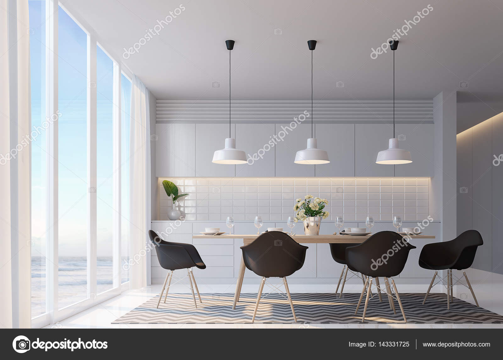 Modern White Dining Room With Sea View 3d Rendering ImageDecorate Wall Hidden Warm Lightblack FurnitureThere Are Large Windows Looking To Beautiful