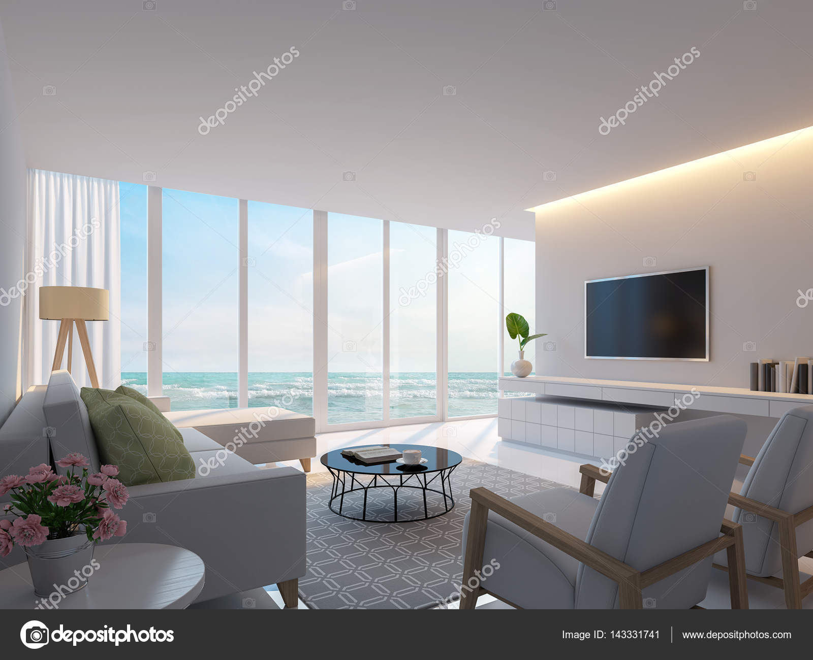 Modern white living room with sea view 3d rendering image — Stock ...