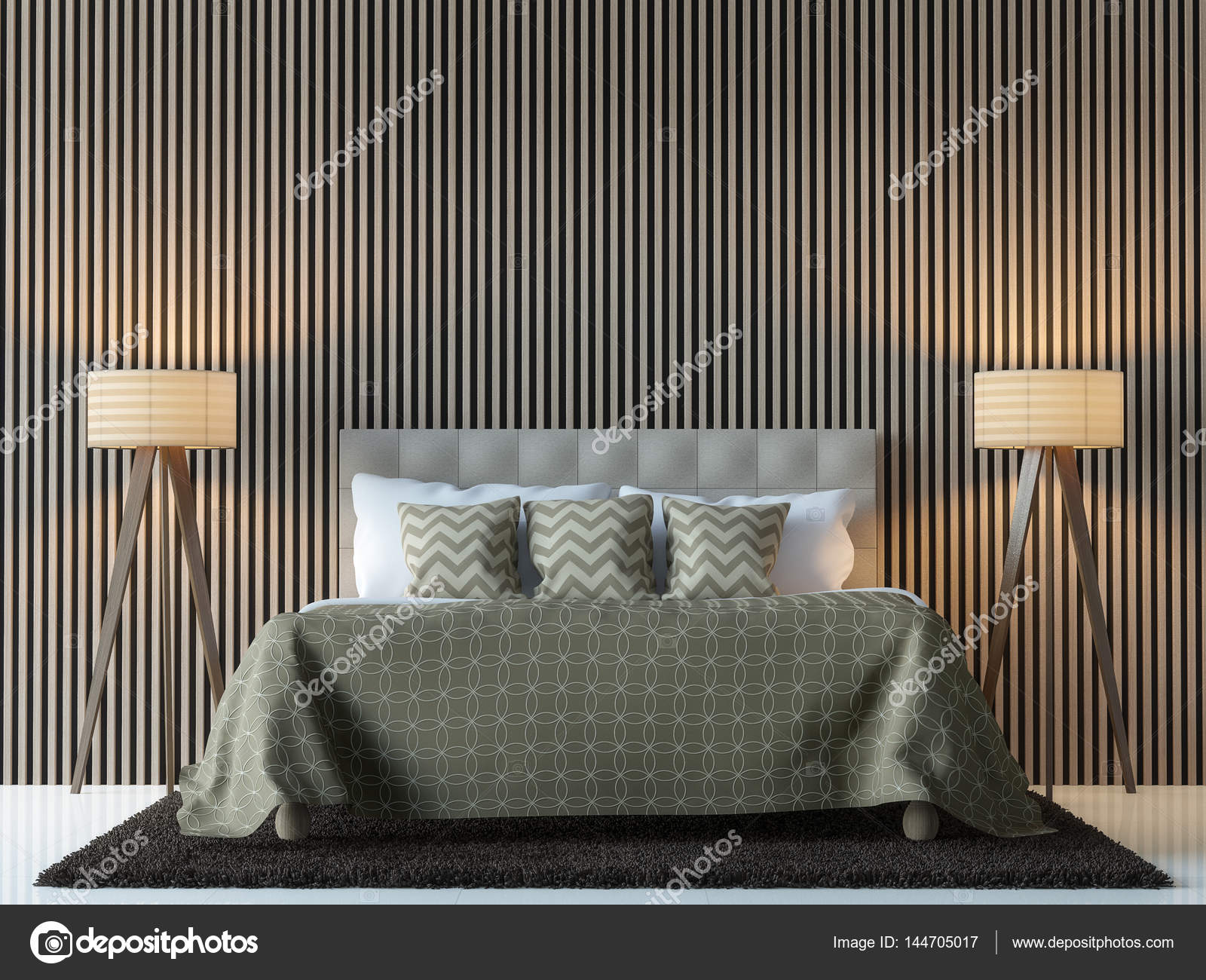 Immagine di rendering camera da letto contemporanea moderna 3d ...