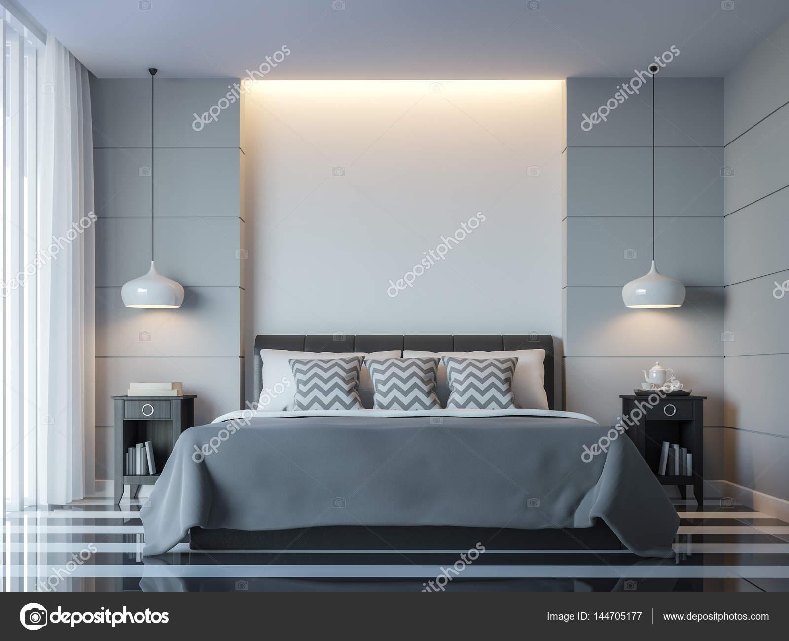 Moderne Weiße Schlafzimmer Minimalstil 3D Rendering Image.There Weiße Leere  Wand. Dekorieren Sie Zimmer Mit Schwarz Weiß Grau Und Verborgene Licht An  Wand ...