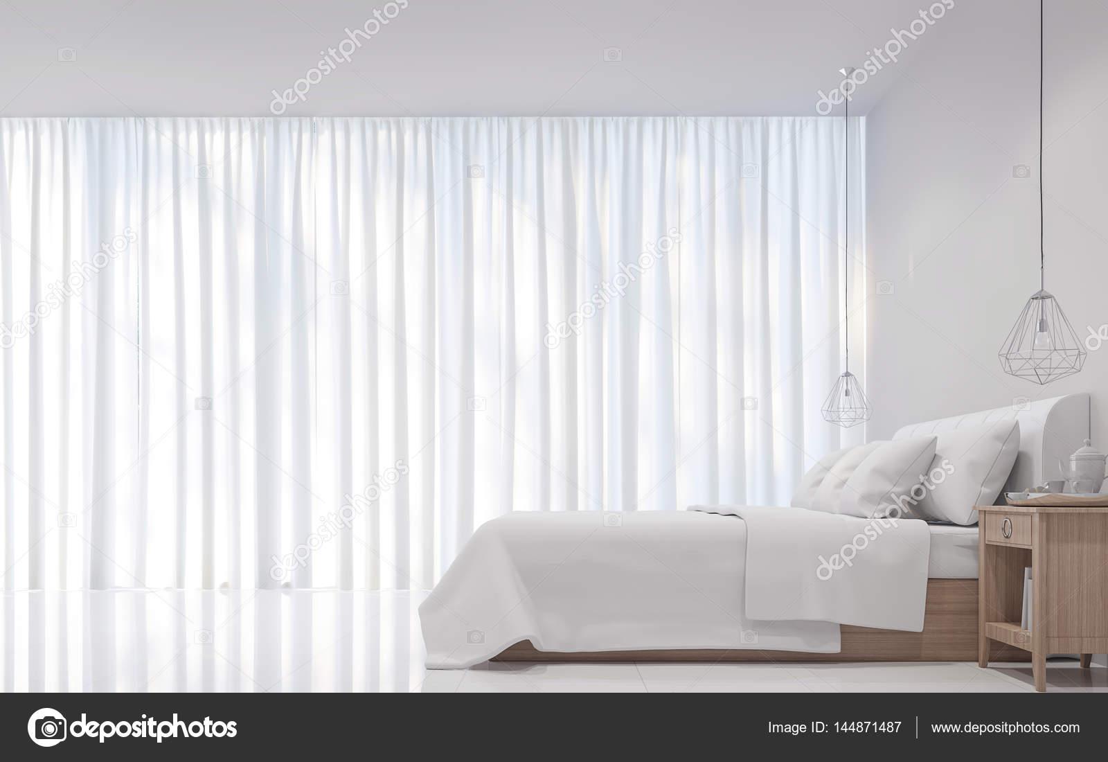 Moderne witte slaapkamer minimalistische stijl d rendering