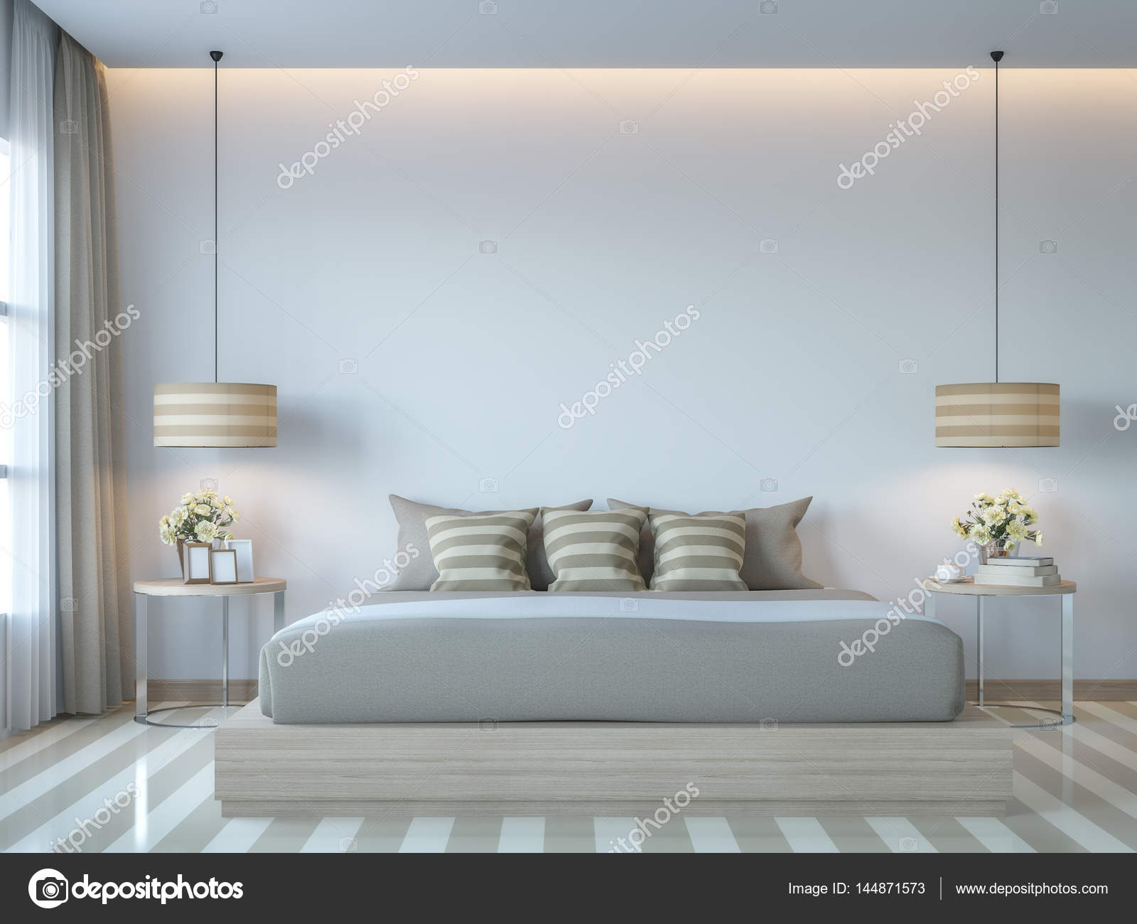 Camere Da Letto Stile Minimalista : Bianco moderno camera da letto stile minimal rendering d immagine