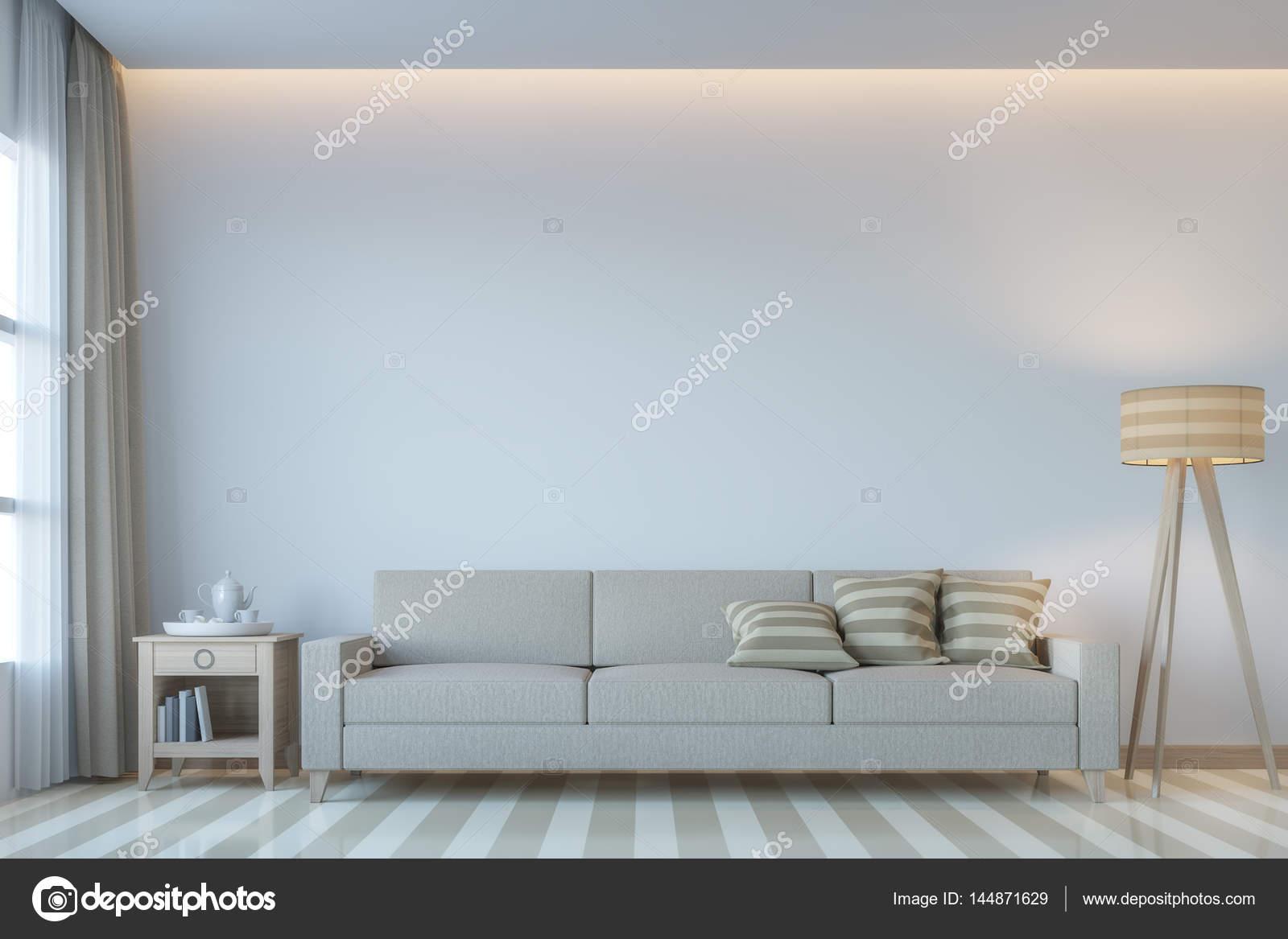 Moderne Weiße Wohnzimmer Minimalstil 3D Rendering Image.There Weiße Leere  Wand. Dekorieren Sie Zimmer Mit Hellen Klangfarbe Und Verborgene Licht An  Decke ...