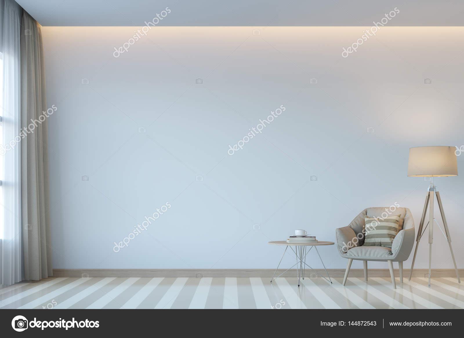 Moderne Weiße Wohnzimmer Minimalstil 3D Rendering Image.There Sind Weiße  Leere Wand. Dekorieren Sie Zimmer Mit Hellen Klangfarbe Und Verborgene  Licht An ...