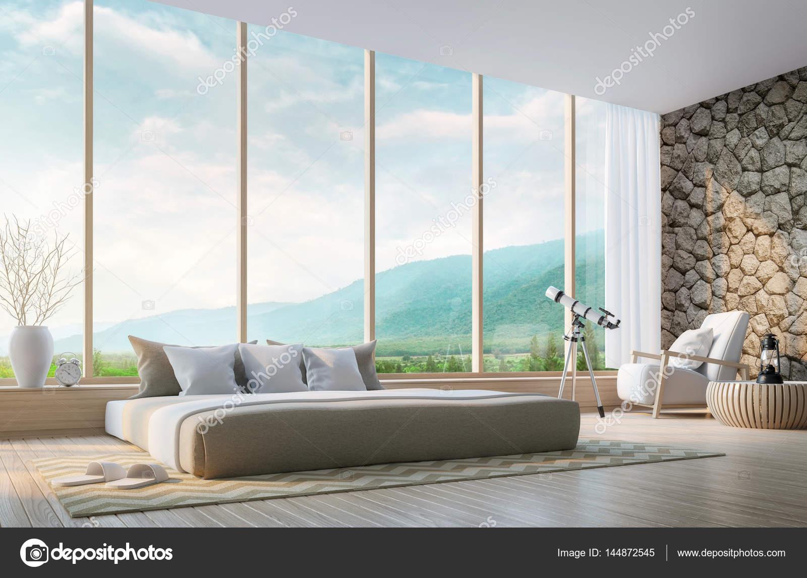 Moderne Schlafzimmer Mit Blick Auf Die Berge 3D Rendering Bild U2014 Stockfoto