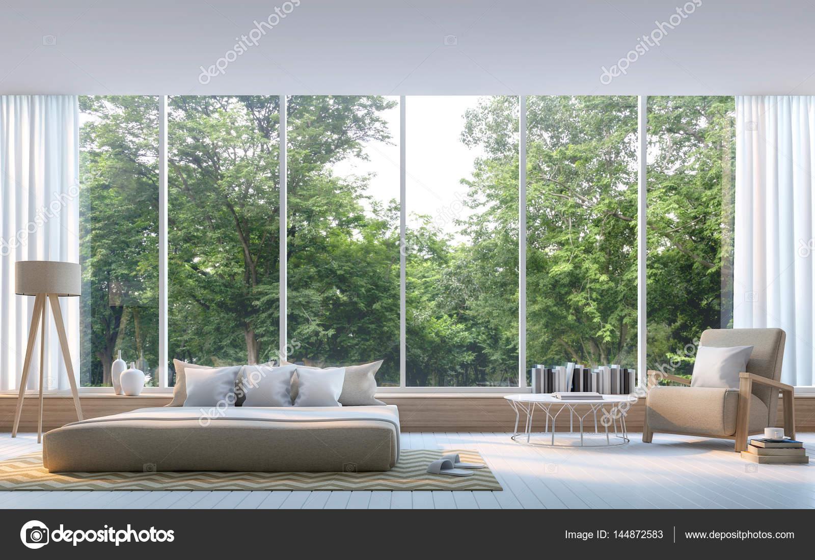 Moderne Schlafzimmer mit Natur Blick 3D-Rendering Bild — Stockfoto ...