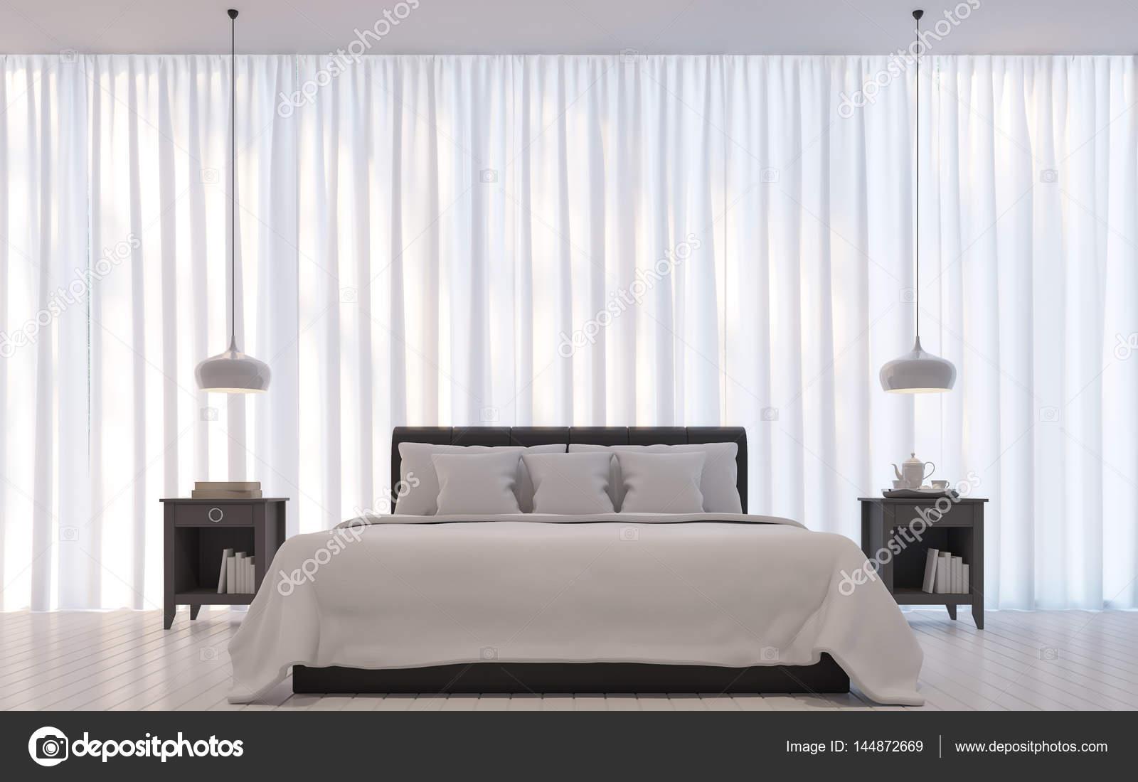 Moderne Weiße Schlafzimmer Minimalstil 3D Rendering Image.There Sind Zimmer  Mit Weißen Durchscheinenden Vorhang Und Dunkles Braun Bett Schmücken U2014 Foto  Von ...